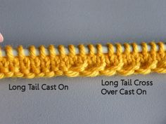 knitting techniques Long-Tail Cross-Over Cast-on / ik Cast On Knitting, Knitting Help, Knitting Stiches, Loom Knitting, Knitting Needles, Crochet Stitches, Hand Knitting, Knit Crochet, Knitting Patterns