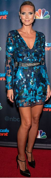 Who made  Heidi Klum's belt, blue sequin dress, and black platform pumps that she wore in New York on July 24, 2013?