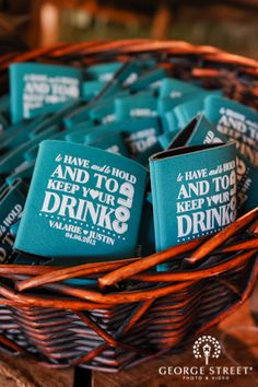 """Adore these customized drink coozies — the perfect wedding favor! """"To have and to hold and to keep your drinks cold"""""""