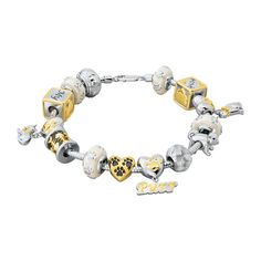"""Features 14 cat-themed charms strung on a sturdy chain.  The charms are easily interchangeable, allowing you to create a bracelet that purr-fectly suits your mood.  Three heart charms feature dangling designs and two """"message"""" charms capture your love for cats and the phrases """"I ? My Cat"""" and """"Meow.""""  Four pearly charms with adorable paw prints add shimmer and shine."""