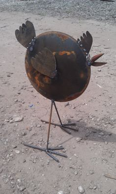 Recycled Garden Art Chicken From Old Farm Disk Free Shipping. $150.00, via Etsy.