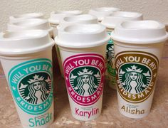Check out this item in my Etsy shop https://www.etsy.com/listing/256791218/will-you-be-my-bridesmaid-starbucks-cup
