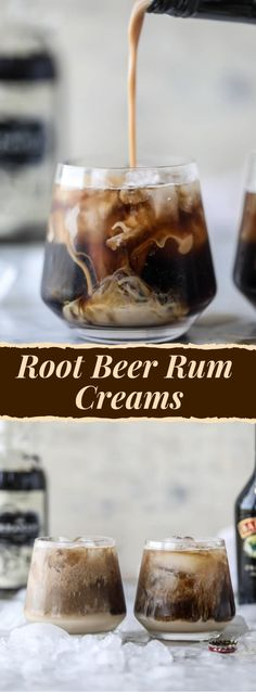 ROOT BEER RUM CREAMS - crushed ice - 2 ounces dark spiced rum - 6 ounces root beer - 1 to 2 ounces Baileys Irish Cream liqueur - Put ice in glass. Pour rum and root beer in, gently stir to mix. Creme De Rum, Rum Cream, Cream Liqueur, Whipped Cream Vodka, Vanilla Cream, Liquor Drinks, Cocktail Drinks, Beverages, Bourbon Drinks