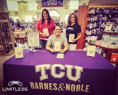 "Book signing at TCU featuring ""LIMITLESS""."