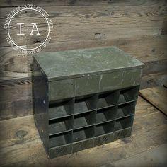 Vintage Industrial Lyons Steel Metal Parts Cabinet Flip-top Jewelry Box Tool Desktop Chest