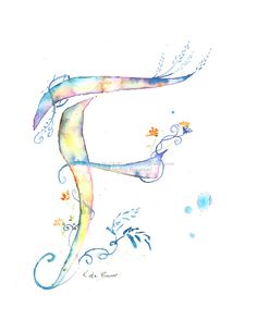 Letter F - Watercolor Monogram - Flower Lettering - Watercolor Letter Print - Watercolor Initial