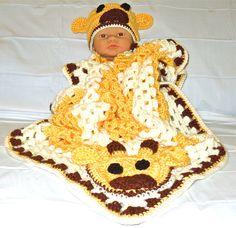 Crochet Baby Blanket, Hat Set, Newborn, Giraffe, Yellow, Off White, Brown Baby Shower Gift. $59.99, via Etsy.