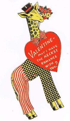 Vintage Valentine Giraffe