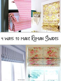 Make your own Roman Shades! Cool tutorial http://andreasnotebook.com/2013/07/4-ways-make-roman-shades.html#_a5y_p=2021644