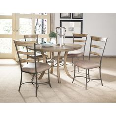 Hillsdale Charleston 5-piece Round Wood Base Dining Set with Ladder Back Chair (Ladder Back Dining Chair, 5 PC), Brown, Size 5-Piece Sets