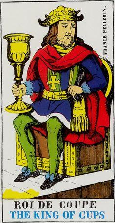 King of Cups - Epinal Tarot Tarot Card Decks, Tarot Cards, King Of Cups, Ace Of Pentacles, Astrology, Prints, Pictures, Art, Photos
