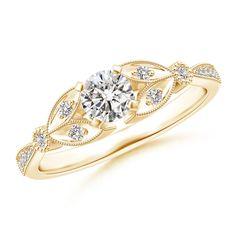 Angara Milgrain Vine Petal Diamond Solitaire Engagement Ring uDmcE0qFo