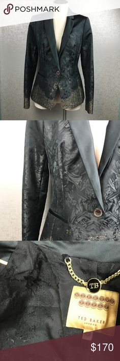 Ted Baker London Ted Baker London Size 2 Floral Blazer Polyester Cotton Acrylic Deep Detail Ted Baker London Jackets & Coats Blazers