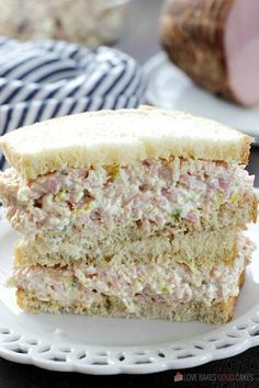 Iowa Ham Salad - Put those leftovers to good use! It's great for sandwiches - or put it on crackers for an easy lunch or appetizer idea. --- PIN THIS RECIPE --- Easter is just Gourmet Sandwiches, Sandwich Bar, Party Sandwiches, Sandwich Fillings, Soup And Sandwich, Wrap Sandwiches, Appetizer Sandwiches, Ham Salad Sandwiches, Sandwich Ideas