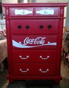 Coca Cola Dresser Makeover - Coca Cola - Idea of Coca Cola Hand Painted Furniture, Funky Furniture, Recycled Furniture, Furniture Projects, Furniture Makeover, Coca Cola Decor, Coca Cola Kitchen, Cocoa Cola, Always Coca Cola