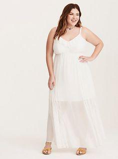 Chiffon Lace Inset V-Neck Maxi DressPlus Size Chiffon Lace Inset V-Neck Maxi Dress, BRIGHT WHITE