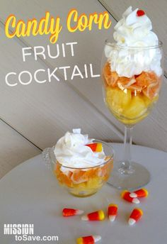 Candy Corn Fruit Cocktail is the perfect healthy treat to your sweeties this fall.  Great for Halloween parties too!