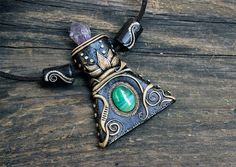 Amethyst clay necklace Green agate pendant Gypsy by SweetlyART