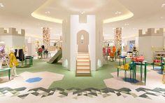 The Junior Multibrand Area At Chalhoub Indoor Playroom In Indoor Playroom, Playroom Ideas, Kindergarten Design, Kids Cafe, Indoor Playground, Kids Corner, Kid Spaces, Retail Design, Store Design