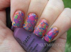 Holy Manicures: Rainbow Splatter Nails.
