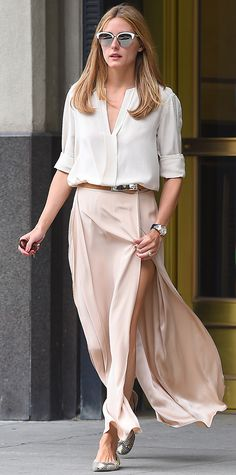 Look of the Day - July 25, 2015 - EXCLUSIVE: Olivia Palermo seen wearing a light pink long skirt in Brooklyn,New York from #InStyle