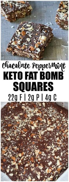 Keto Chocolate Peppermint Squares - Low in Carbs and Full of Flavor. These make perfect low carb snacks and they are both healthy and delicious.