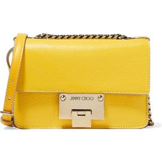 Jimmy Choo Rebel mini textured-leather shoulder bag ($995) ❤ liked on Polyvore featuring bags, handbags, shoulder bags, accessories, jimmy choo, chain shoulder bag, yellow handbags, chain strap shoulder bag and yellow purse