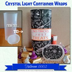 Halloween Crystal Light Container wrappers, pumpkins, ghosts, Treats no tricks…