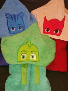 Pj mask hooded towels by cuteshoppie on Etsy