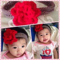 Flower crochet head band