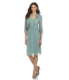 Le Bos Textured Chiffon Jacket Dress | Dillards.com
