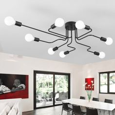(28.56$)  Know more  - Vintage Ceiling Lights For Home Lighting Luminaire Multiple Rod Wrought Iron Ceiling Lamp E27 Bulb Living Room Lamparas De Techo