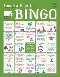 Faculty meeting bingo.