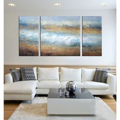 Hand-painted 'The Tide of Colors' 3-piece Gallery-wrapped Art Set - Overstock™ Shopping - Top Rated Otis Designs Canvas