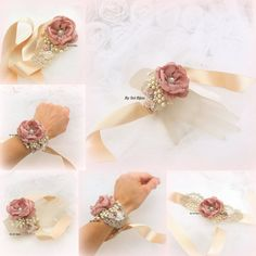 Corsage Wrist Bracelet Cuff Wedding Bridal Dusty Rose by SolBijou