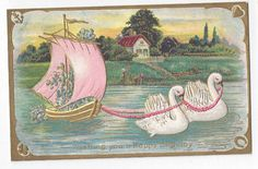 Antique Birthday Post Card Swans Pull Boat with Pink Sails at Sunset   ##