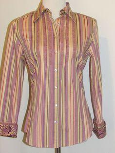 Robert Graham Ladies Sz Small Button Front Shirt Flip Cuffs Embroidered Lavender #RobertGraham #ButtonDownShirt