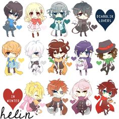 All Diabolik lovers characters (winter outfits) < Cute Diabolik Lovers Season 3, Diabolik Lovers Ayato, Ayato Sakamaki, Kawaii Chibi, Anime Chibi, Kawaii Anime, Manga Anime, Anime Art, Carla Tsukinami