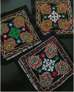 Quirkyy Kutchwork Patch! Available in 3 Attractive Color Combinations... To Order Visit www.dhinakaransartsandcrafts.com > Kutchwork >… Hand Work Embroidery, Embroidery Motifs, Indian Embroidery, Embroidery Designs, Kutch Work Saree, Kutch Work Designs, Navratri Dress, Neckline Designs, Herringbone Stitch