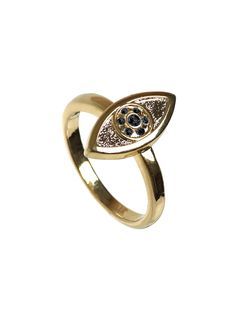 Gold & Black Evil Eye Ring by House of Harlow 1960 at Gilt