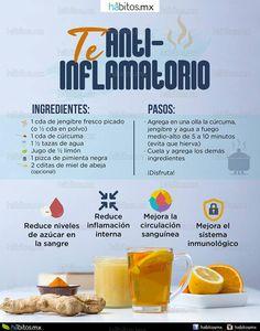 Té antiinflamatorio BENEFICIOS: – Reduce inflamación interna – Mejora la circulación sanguínea – Reduce niveles de azúcar en la sangre – Mejora el sistema inmunológico  INGREDIENTES: – 1 cda de jengibre fresco picado (en polvo) – 1 cda de cúrcuma – 1 1/2 taza de agua caliente – jugo de 1/2 limón – 1 pizca de pimienta negra – 2 cditas de miel de abeja (opcional)  PASOS: – Agrega en una olla la cúrcuma, jengibre y agua a fuego medio-alto de 5 a 10 minutos (evita que hierva) – Cuela y agrega… Healthy Juices, Healthy Drinks, Healthy Tips, Healthy Snacks, Healthy Recipes, Healthy Water, Smoothie Drinks, Detox Drinks, Workout Bauch