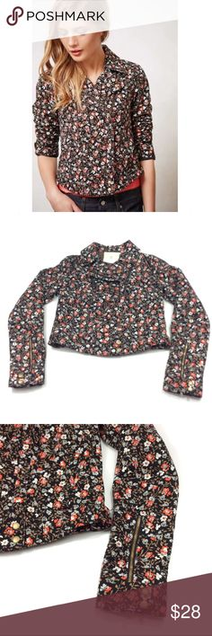 Hei Hei Floral Tinsley Moto jacket size 2 Hei Hei Anthropology Floral print Tinsley Moto jacket size 2. Jacket body is made of 100% cotton, body lining is 65% polyester and 35%rayon with the sleeve lining being 100% acetate. Measurements taken from the back with the garment laying flat, pit to pit 16 1/2 inches, sleeve 24 1/2 inches in length 17 inches, all measurements are approximate. GUC questions??? Please ask Anthropologie Jackets & Coats