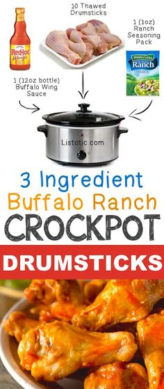 Hypoallergenic Pet Dog Food Items Diet Program 3 Ingredient Buffalo Ranch Crockpot Drumsticks 12 Mind-Blowing Ways To Cook Meat In Your Crockpot Crock Pot Recipes, Crock Pot Food, Crockpot Dishes, Crock Pot Slow Cooker, Slow Cooker Recipes, Cooking Recipes, Crockpot Meat, Cooking Tips, Gastronomia