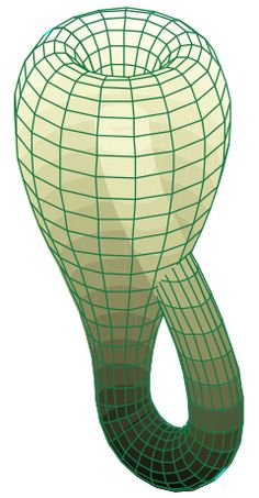 """Klein bottle: """"In mathematics, the Klein bottle is a non-orientable surface, informally, a surface (a two-dimensional manifold) in which notions of left and right cannot be consistently defined."""" // Seen in: wormholes (hopefully)!"""