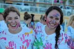 "Sisterhood idea - Everyone covers their hands in a paint color and a leader reads out prompts like ""touch someone who inspires you"" or even fun prompts like ""touch someone who is from the same state as you."" By the end of the game, everyone is laughing and covered in colorful paint."