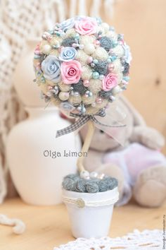"""Купить Деревце """"Легрей""""! - серый, розовый, голубой, холодные тона, дерево, топиарий, Дерево счастья"""