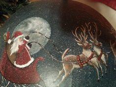 Hand painted Santa reindeer globe