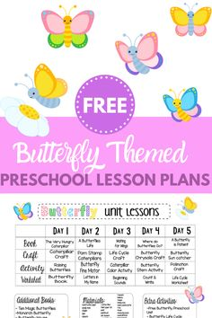 Looking for Butterfly themed preschool lesson plans? Check out these free plans with a week's worth of Butterfly themed crafts and activities! It's all done for you and free to print! Free Lesson Plans, Preschool Lesson Plans, Preschool Books, Free Preschool, Preschool Crafts, Free Plans, Preschool Learning, Preschool Ideas, Bug Activities