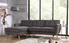 Harlow Slate Grey Fabric L Shape Corner Sofa LHF Only £699.99 | Furniture Choice
