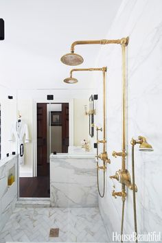 A bathroom built for two is super-efficient while taking design cues from the past. Designer Bryan Joyce gave this room in a 1750 New Jersey farmhouse a sense of history. Mark Weinberg/Studio D  - HouseBeautiful.com